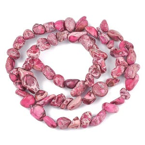 Pink/Red Impression Jasper Grade A Smooth Nugget Beads 7x5mm-10x8mm Strand Of 60+ Pieces Y17035