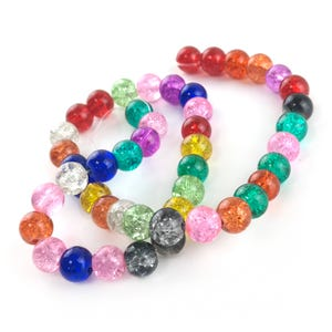 Mixed-Colour Cracked Glass Plain Round Beads 8mm Strand Of 45+ Pieces Y17040