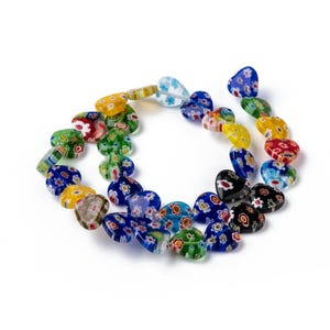 Mixed-Colour Millefiori Glass Flat Heart Beads 12mm x 11mm Strand Of 30+ Pieces Y17050