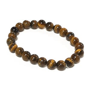 Yellow/Brown Tiger Eye One Size Round Bead Stretchy Bracelet  Y17055
