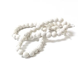 White Matte Lava Rock Grade A Plain Round Beads 6mm Strand Of 60+ Pieces Y17060