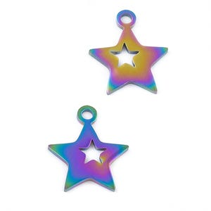 Rainbow Stainless Steel Star Charms 12mm x 14mm Pack Of 2 Y17065