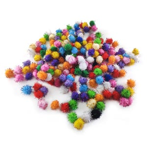 Mixed-Colour Glitter Tinsel & Yarn Pom Poms 15mm Pack Of 200+ Y17090