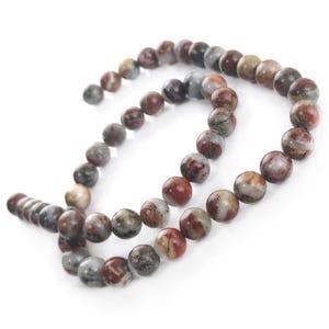Red/Grey Rainbow Jasper Grade A Plain Round Beads 8mm Strand Of 45+ Pieces Y17105