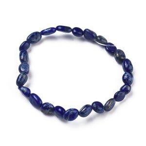 Blue Lapis Lazuli One Size Nugget Stretchy Bracelet  Y17110