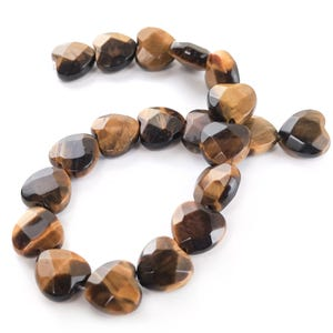 Yellow/Brown Tiger Eye Grade A Faceted Heart Beads 10mm Strand Of 20 Pieces Y17120