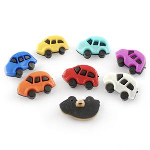 Black/Mixed-Colour Acrylic 24.5mm x 16mm Shank Car Buttons Pack Of 20 Y17140