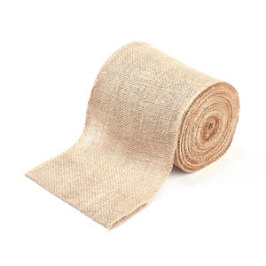 Beige Burlap Hessian Ribbon Double-Sided 1M Continuous Length 15cm Wide Y17145
