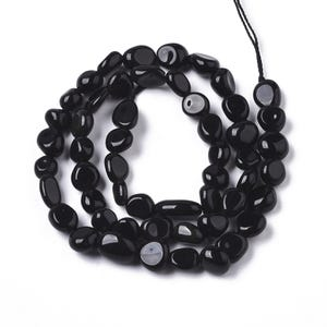 Black Obsidian Grade A Smooth Nugget Beads 5x6mm-7x9mm Strand Of 50+ Pieces Y17155