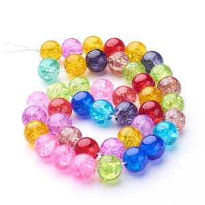 Mixed-Colour Cracked Glass Plain Round Beads 10mm Strand Of 38+ Pieces Y17210