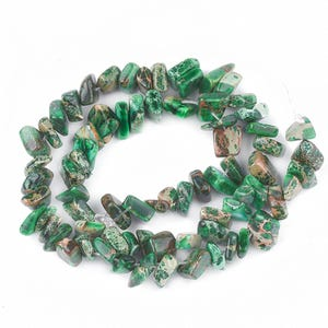 Green Impression Jasper Grade A Chip Beads Approx 7-10mm Strand Of 70+ Pieces Y17220