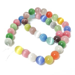 Mixed-Colour Glass Cat's Eye Plain Round Beads 10mm Strand Of 38+ Pieces Y17295