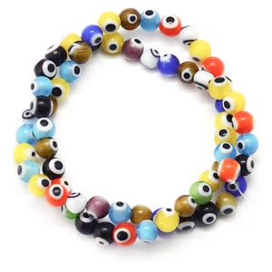 Mixed-Colour Evil Eye Glass Plain Round Beads 8mm Strand Of 45+ Pieces Y17300