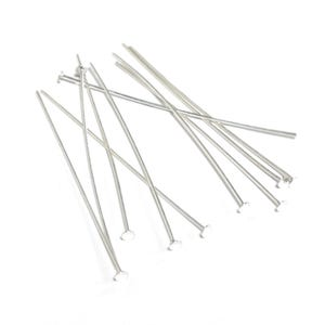 Bright 925 Sterling Silver 0.5mm x 40mm Flat Head Pins Pack Of 10 Y17310