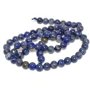 Blue Denim Lapis Lazuli Grade A Plain Round Beads 6mm Strand Of 60+ Pieces Y17325