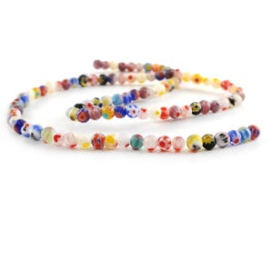 Mixed-Colour Millefiori Glass Plain Round Beads 4mm Strand Of 95+ Pieces Y17330