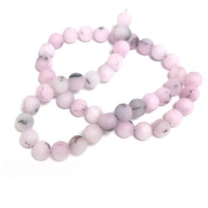 Pink/Black Frosted Cherry Blossom Jasper Grade A Plain Round Beads 8mm Strand Of 45+ Pieces Y17335