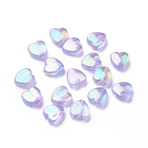 Lilac AB Iridescent Acrylic Heart Beads 8.5mm x 9mm Pack Of 100+ Y17370