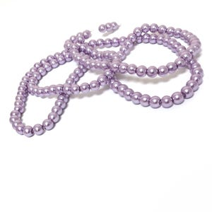Lilac Pearlised Glass Plain Round Beads 6mm Long Strand Of 145+ Pieces Y17375