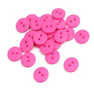 Bright Pink Resin 15mm 2-Hole Round Buttons Pack Of 30 Y17400