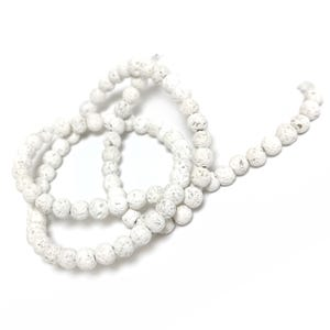 White Matte Lava Rock Grade A Plain Round Beads 4mm Strand Of 90+ Pieces Y17420