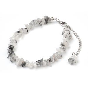 Black/Grey Rutilated Quartz 8 Inch Chip Anklet Bracelet  Y17455