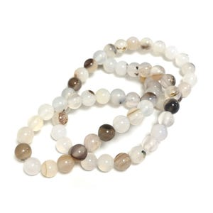 White/Brown Dendritic Agate Grade A Plain Round Beads 6mm Strand Of 60+ Pieces Y17470