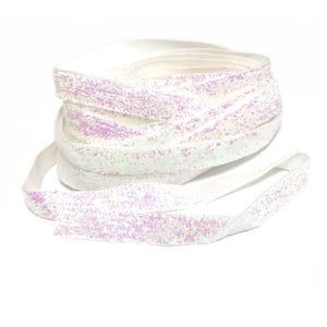 White AB Glitter Nylon Ribbon 5M Continuous Length 10mm Wide Y17480