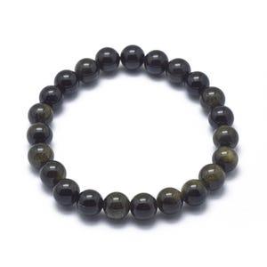 Black/Golden Rainbow Obsidian One Size Round Bead Stretchy Bracelet  Y17515