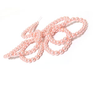 Pink Pearlised Glass Plain Round Beads 6mm Long Strand Of 145+ Pieces Y17540