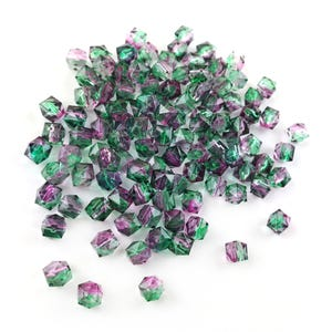 Green/Purple Acrylic Faceted Cube Beads 8mm Pack Of 100+ Y17560