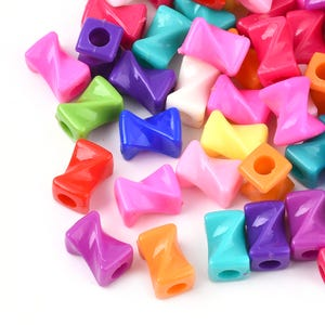 Mixed-Colour Acrylic Pony Twisted Cuboid Beads 10mm x 15mm Pack Of 50+ Y17580
