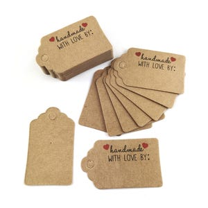 """Brown Card Rectangle Gift Tags """"Handmade With Love By"""" 5cm x 3cm Pack Of 40+ Y17590"""