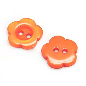 Orange Resin 15mm 2-Hole Flower Buttons Pack Of 20 Y17600