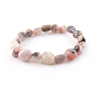 Pink Peruvian Opal One Size Nugget Stretchy Bracelet  Y17605