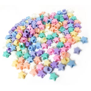 Pastel Mixed-Colour Acrylic Pony Star Beads 10mm Pack Of 150+ Y17615