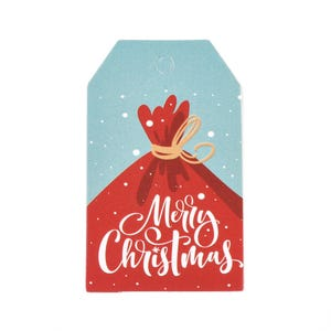 """Red/Blue Card Rectangle Gift Tags """"Merry Christmas"""" 3cm x 5cm Pack Of 50+ Y17630"""