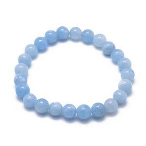 Blue Jade One Size Round Bead Stretchy Bracelet  Y17640
