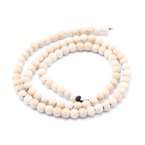 Beige Wood Plain Round Beads 4.5mm Strand Of 95+ Pieces Y17645