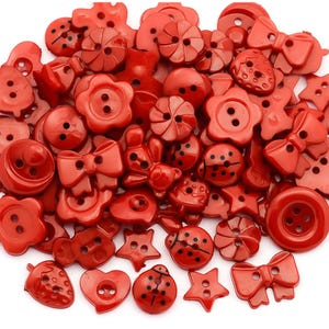 Red Acrylic 10mm-15mm 2-Hole Mixed Shape Buttons Pack Of 50g Y17655