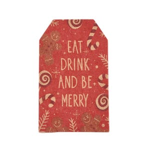"""Red Card Rectangle Gift Tags """"Eat Drink Be Merry"""" 3cm x 5cm Pack Of 50+ Y17660"""