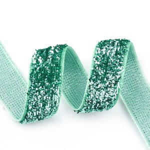 Teal Green Glitter Nylon Ribbon 5M Continuous Length 10mm Wide Y17680