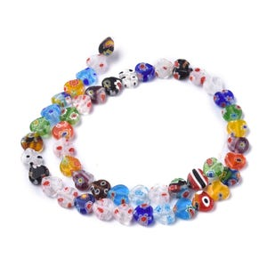 Mixed-Colour Millefiori Glass Flat Heart Beads 8mm x 7.5mm Strand Of 45+ Pieces Y17725