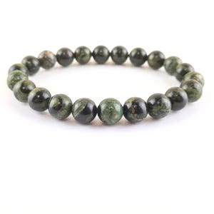 Green Kambaba Jasper One Size Round Bead Stretchy Bracelet  Y17745