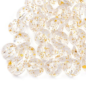 Clear/Gold Glitter Acrylic Plain Round Beads 10mm Pack Of 50+ Y17750