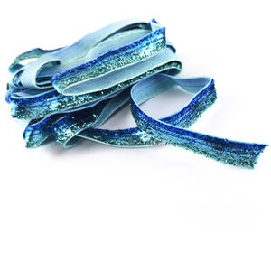 Blue/2 Tone Glitter Nylon Ribbon 5M Continuous Length 10mm Wide Y17780