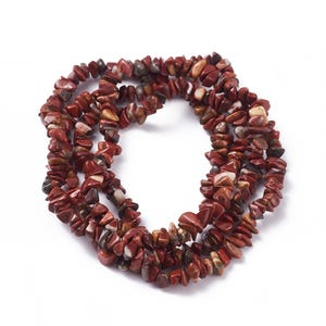Red/Brown Brecciated Jasper Grade A Chip Beads Approx 6-12mm Long Strand Of 120+ Pieces Y17795
