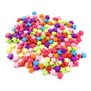 Mixed-Colour Acrylic Pony Star Beads 12mm Pack Of 150+ Y17805