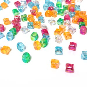 Mixed-Colour AB Acrylic Concave Cube Beads 10mm x 7.5mm Pack Of 100+ Y17820