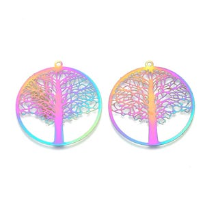 Rainbow Stainless Steel Tree of Life Pendants 40mm x 43mm Pack Of 2 Y17850